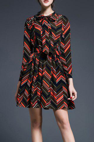 Shops Wavy Stripe Print Bowknot Dress