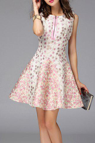 Shop Zippered Mini Floral Sundress
