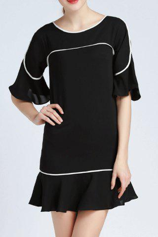 Discount Ruffled Flare Sleeve Dress For Women