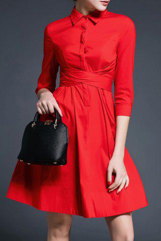 Discount A-Line Solid Color Belted Dress