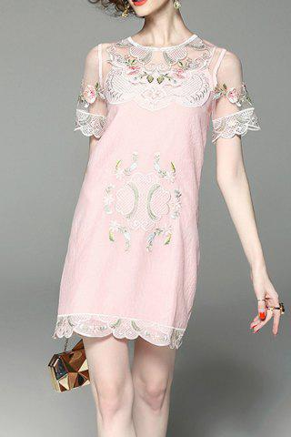 Affordable Flower Embroidered See Through Two Piece Dress