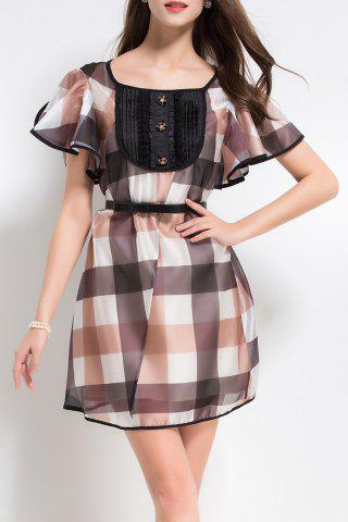 Outfit Plaid Mini Dress with Tank Top