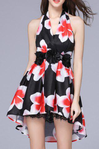 Affordable Halter Backless Floral Dress