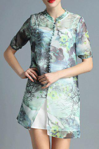 Chic Print Mandarin Collar Dress Twinset For Women
