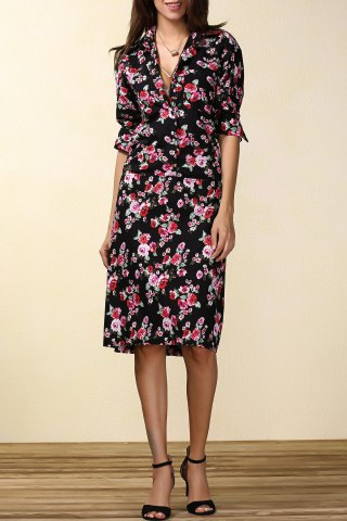 Latest Floral Print Long Sleeve Shirt Dress