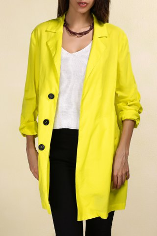 Outfit Lapel Long Line Yellow Blazer