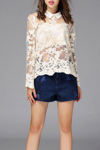 Online See-Through Embroidered Blouse