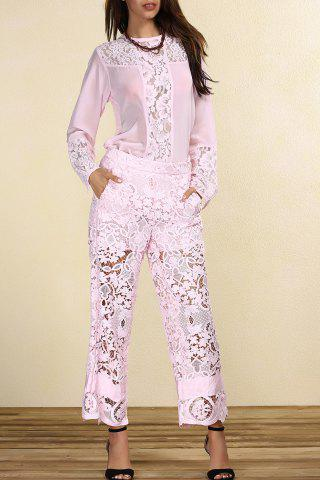 Discount Long Sleeve Lace Panel Pink T-Shirt