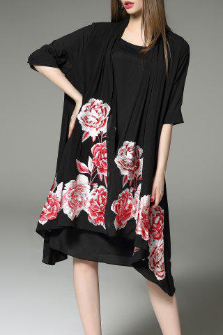 Hot Flower Embroidered Half Sleeve Cardigan