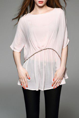 Online Round Neck Batwing Sleeve Rivet Embellished T-Shirt