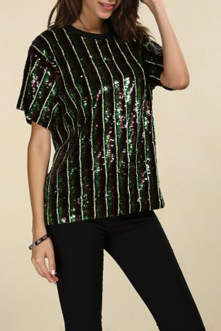 Shops Short Sleeve Sparkly Sequins Stripe T-Shirt