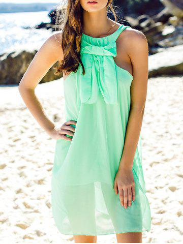 Medium NEON GREEN Solid Color Bowknot Embellished Sundress