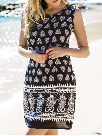 Unique Scoop Neck Stylish Tribal Print Sleeveless Dress For Women