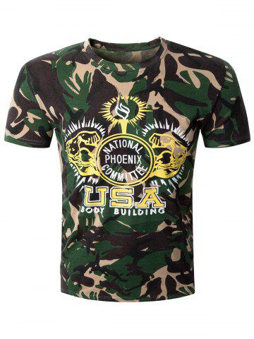 Best Casual Camo Letter Printed Round Collar Short Sleeve T-Shirt For Men CAMOUFLAGE 2XL