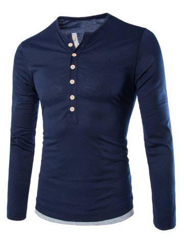 Hot Long Sleeves Two Tone Button T Shirt CADETBLUE L
