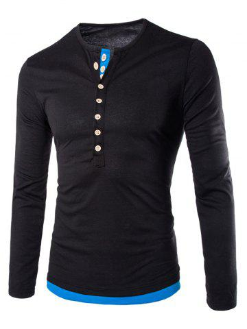 Affordable Long Sleeves Two Tone Button T Shirt BLACK 2XL