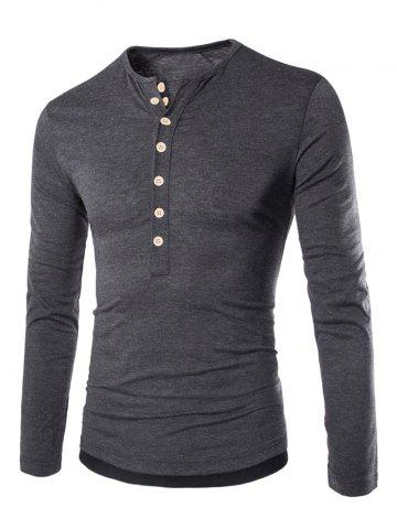 Cheap Long Sleeves Two Tone Button T Shirt DEEP GRAY L