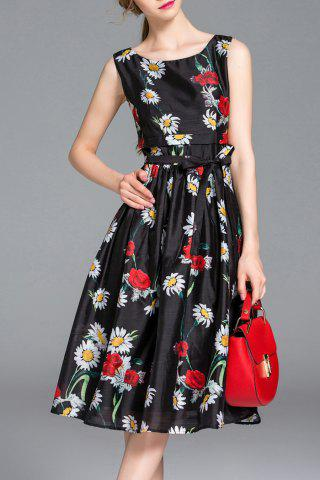 Latest Floral Print Sleeveless Belted Dress