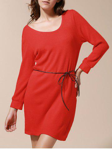 Solide Couleur style simple Skinny manches bouffantes Robe de V-Neck femmes Rouge TAILLE MOYENNE