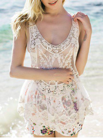 Shops Sheer Lace Tank Top WHITE ONE SIZE