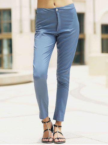 Stylish High Waisted Pocket Design Slimming Women s Pants