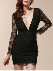Plunging Neck Long Sleeve Lace Bandage Bodycon Dress