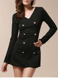 Fashionable V-Neck Solid Color Double-Breasted Long Sleeve Women's Dress - BLACK