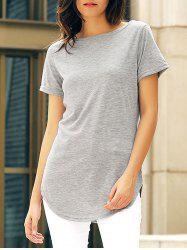 Short Sleeve Solid Color Slit Casual Dress