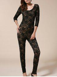 Open Back Bodycon Lace Jumpsuit