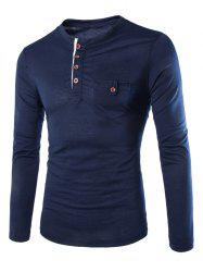 Fashion Slimming Round Neck Contrast Color Placket Long Sleeve Polyester T-Shirt For Men - CADETBLUE
