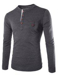 Fashion Slimming Round Neck Contrast Color Placket Long Sleeve Polyester T-Shirt For Men - DEEP GRAY