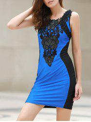 Sexy Scoop Neck Lace Embellished Sleeveless Color Block Dress For Women