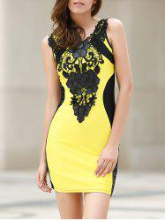 Sexy Scoop Neck Lace Embellished Sleeveless Color Block Dress For Women - YELLOW S