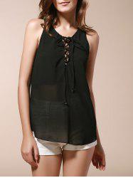 Stylish Scoop Neck Sleeveless Lace-Up Chiffon Black Tank Top For Women