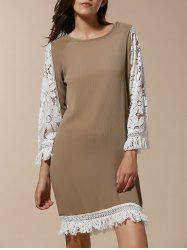 Stylish Scoop Neck 3/4 Sleeve Tassels Lace Splicing Women's Dress - KHAKI