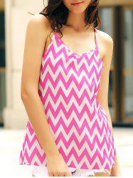 Sleeveless Spaghetti Strap Chevron Top