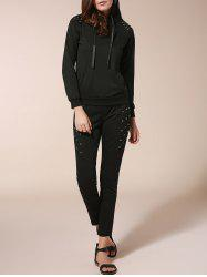 Stylish Hooded Long Sleeve Sweatshirt + Elastic Waist Slimming Pants Women's Twinset - BLACK