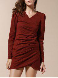 Elegant Style V-Neck Side Pleated Design Long Sleeve Cotton Blend Women's Dress - WINE RED