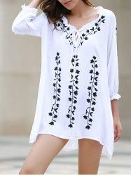 Sexy V-Neck 3/4 Sleeve Ruffled Leaf Print Dress For Women -