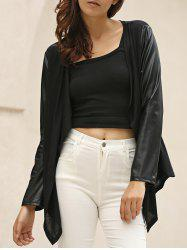 Stylish Long Sleeve Color Block Draped Asymmetrical Women's Jacket - BLACK