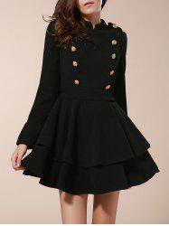 Vintage Stand Collar Buttons Embellished Long Sleeve Ruffles Dress For Women - BLACK L