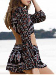 Trendy Printed Long Sleeve Crop Top + Shorts Women's Twinset