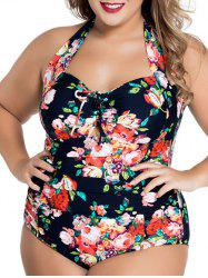 Floral Plus Size Halter Neck Swimwear - PURPLISH BLUE