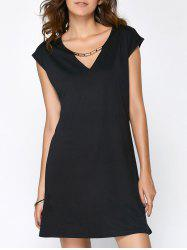 Hollow Out Summer Casual Dress With Sleeves - BLACK L