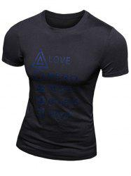 Casual Solid Color Letter Printed Short Sleeve T-Shirt For Men -