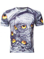 Casual Owl Printing Round Collar Short Sleeve T-Shirt For Men -