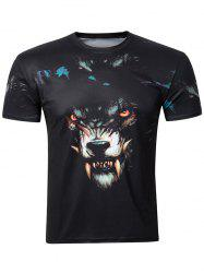 Casual 3D Wolf Printing Round Collar Short Sleeve T-Shirt For Men -