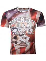 3D Skull Graphic Print American Flag Distressed T-Shirt - COLORMIX 2XL