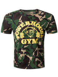 Casual Camo Round Collar Short Sleeve T-Shirt For Men - CAMOUFLAGE L