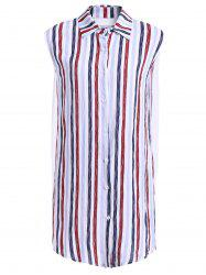 Fashionable Shirt Collar Sleeveless Striped Dress For Women -